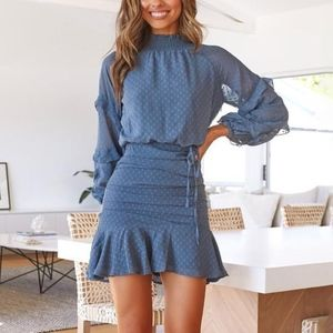 Blue Long Sleeve Dress with Tie New